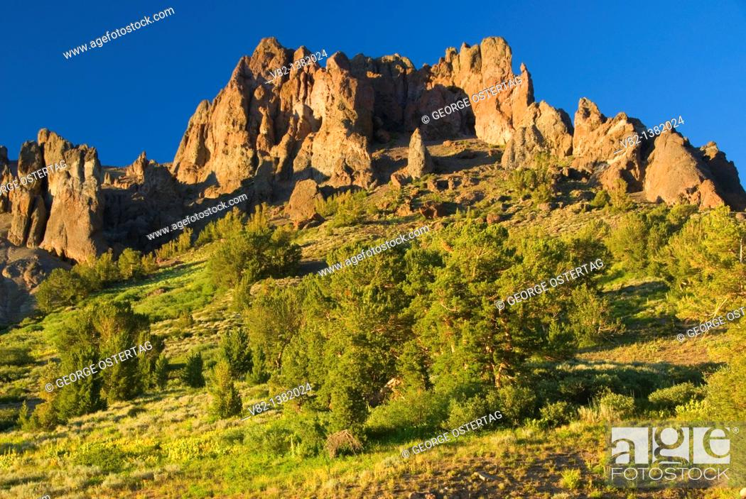 Stock Photo: Sonora Peak outcrop from Pacific Crest Trail, Stanislaus National Forest, California.