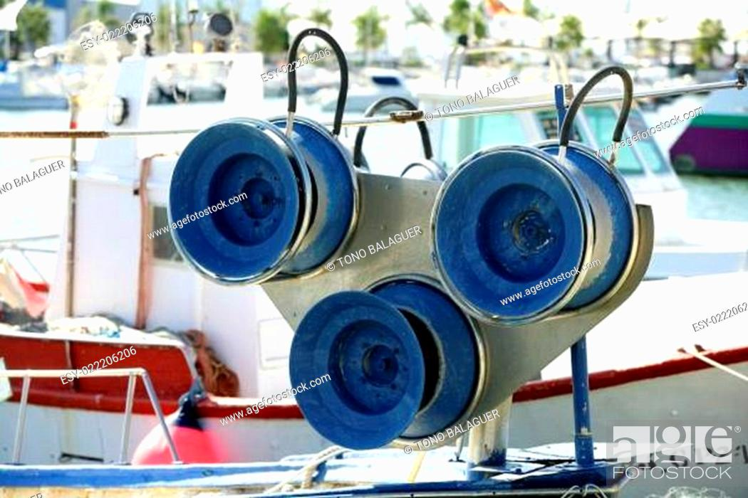 Stock Photo: Fishing winch for professional fisherman boats.