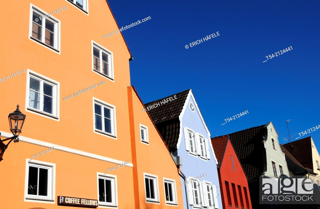 Stock Photo: Colorful Old Houses at the theater square in Memmingen.