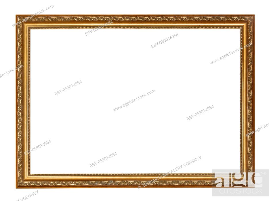 Stock Photo: empty narrow golden carved wooden picture frame with cut out canvas isolated on white background.