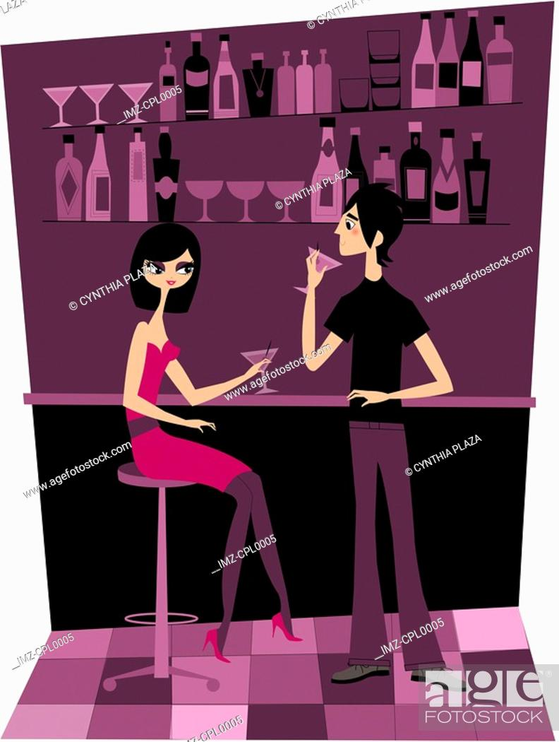 Stock Photo: A couple having drinks at a bar.