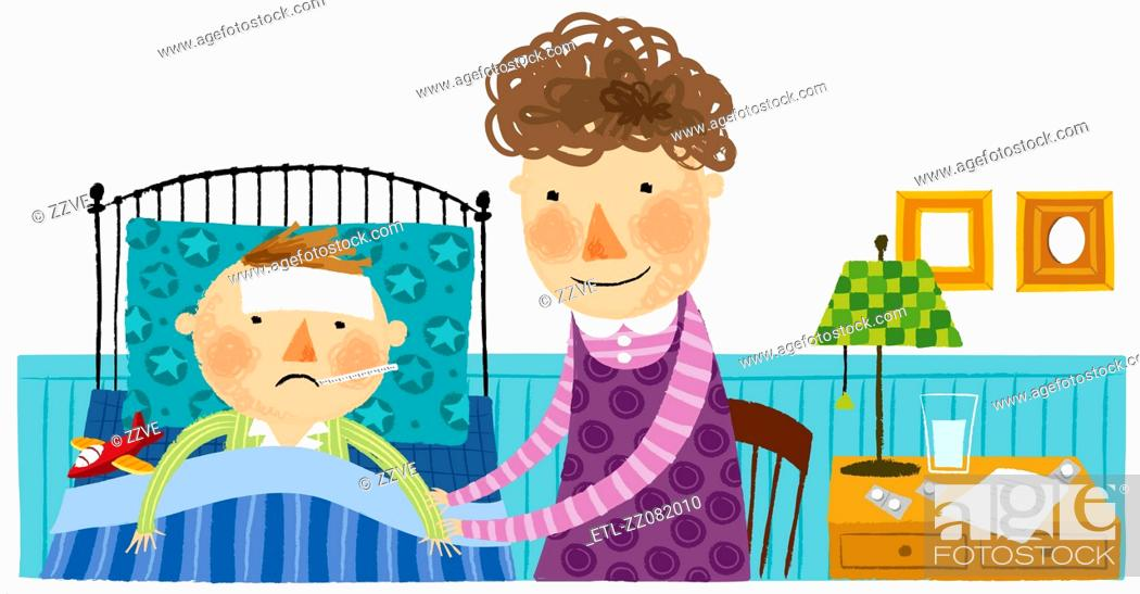 Stock Photo: mother taking care of sick son.