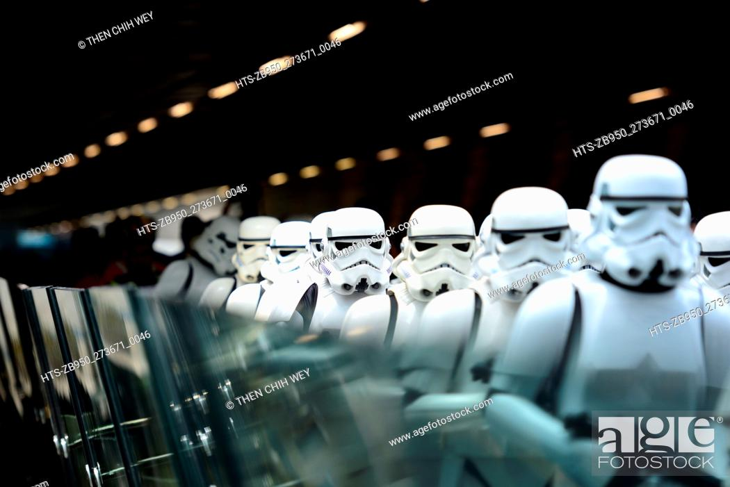 "Stock Photo: (151112) -- SINGAPORE, Nov. 12, 2015 () -- Performers dressed as characters of the movie """"Star Wars"""" perform during the """"Star Wars"""" fighters unveiling."