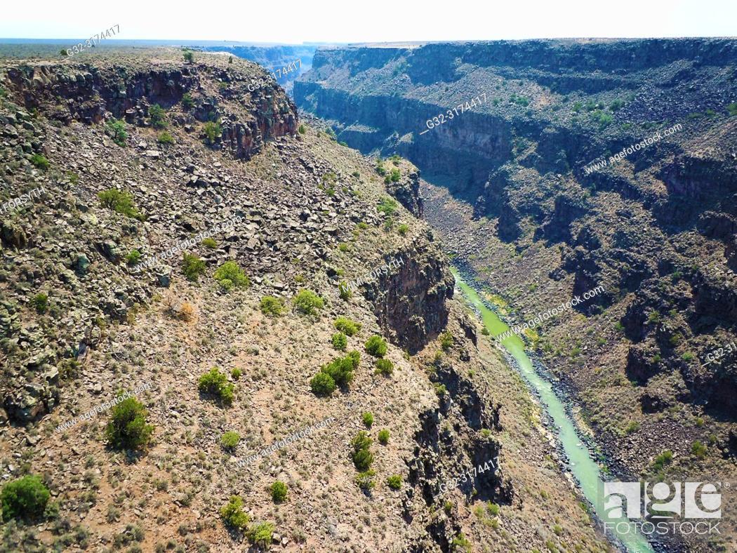 Stock Photo: Rio Grande river, at the bottom of Taos Gorge, ca. 800 feet deep. New Mexico.