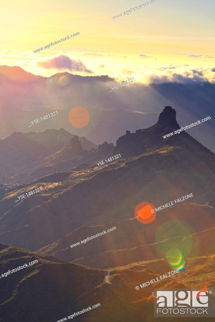Stock Photo: Canary Islands, Gran Canaria, Central Mountains, View of West Gran Canaria from Roque Nublo.