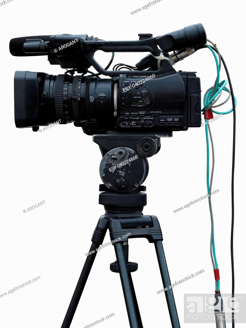 Stock Photo: TV Professional studio digital video camera isolated on white background.