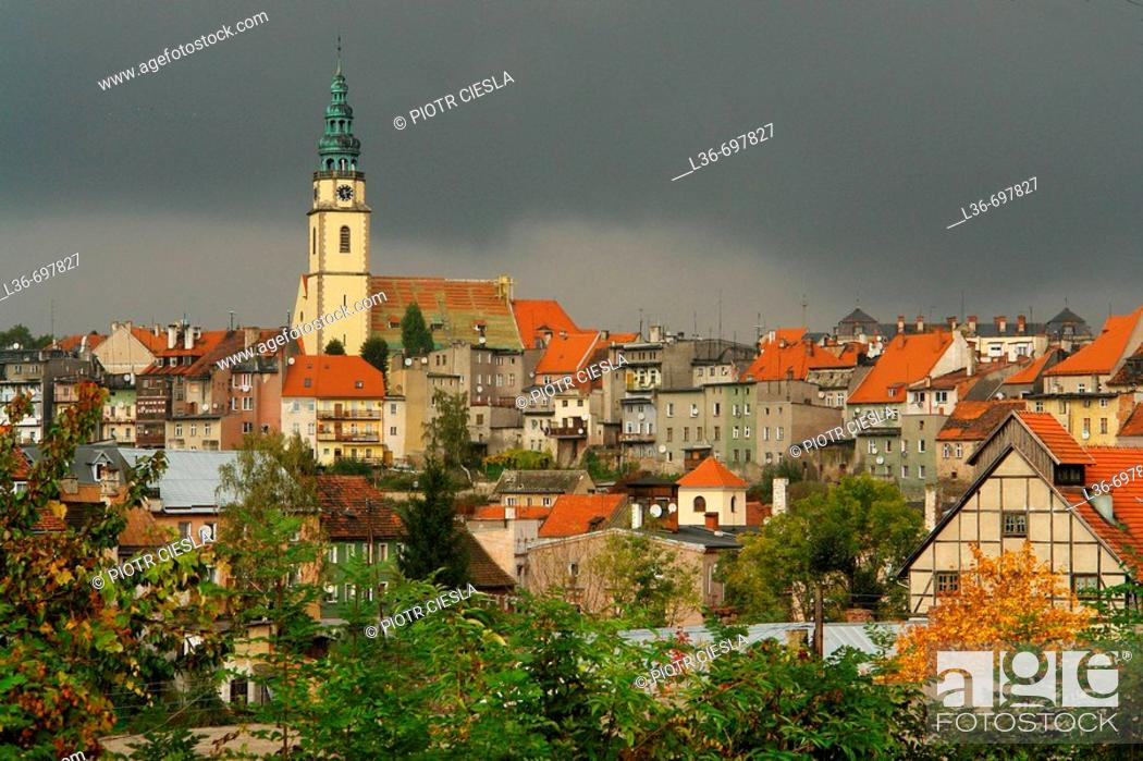 Stock Photo: Panorama of the old town of Bystrzyca Klodzka. Lower Silesia, Poland.