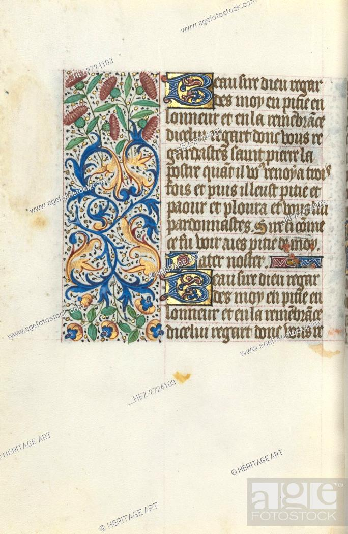 Stock Photo: Book of Hours (Use of Rouen): fol. 153v, c. 1470. Creator: Master of the Geneva Latini (French, active Rouen, 1460-80).