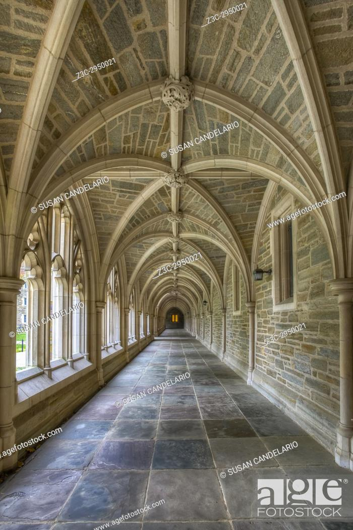 Stock Photo: Princeton University Hallway III - A view to a perfect example of Collegiate Gothic architecture style. Princeton University is a private Ivy League research.