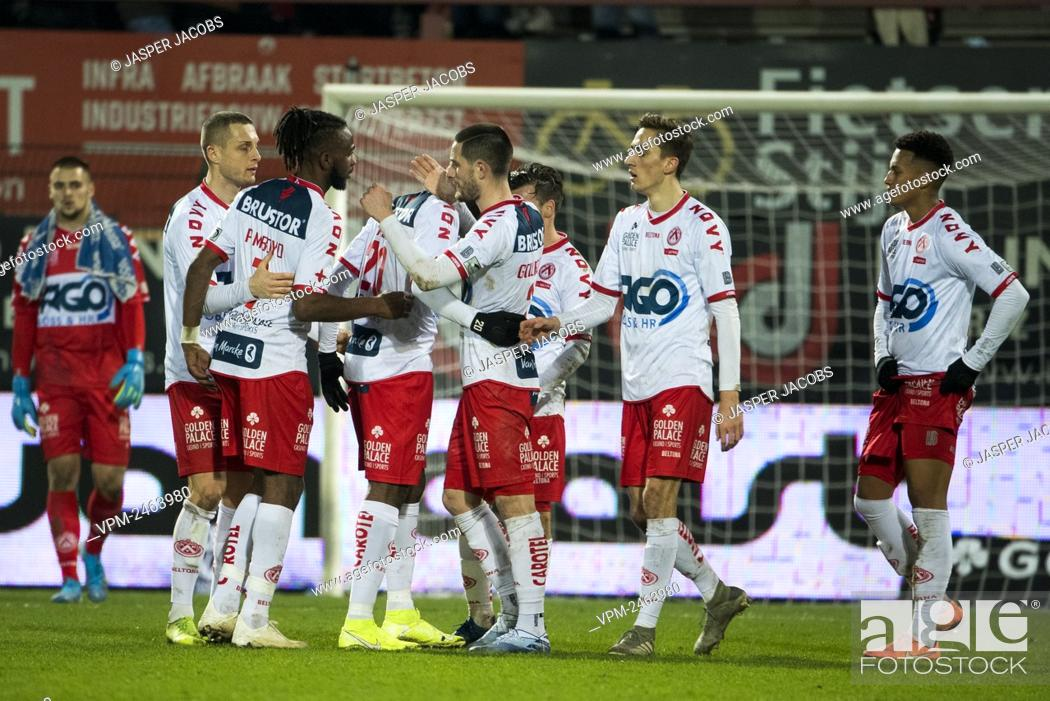Kortrijk s Players Celebrate After A Soccer Match Between KV Kortrijk And Club Brugge KV Stock Photo Picture And Rights Managed Image Pic VPM Agefotostock