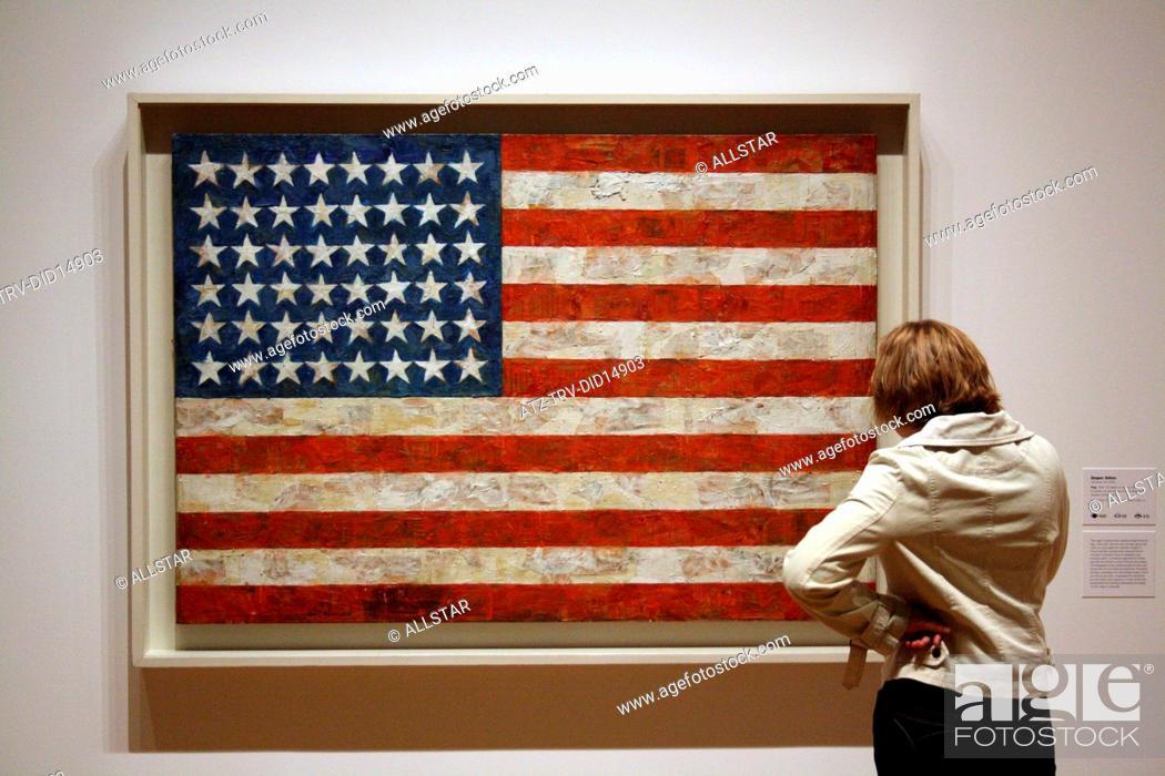 Stock Photo: JASPER JOHNS' FLAG; MUSEUM OF MODERNT ART, NEW YORK , USA; 12/10/2010.