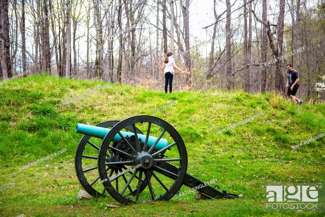 Stock Photo: Old fashion brown wheels with green canon in the middle of an old war field.