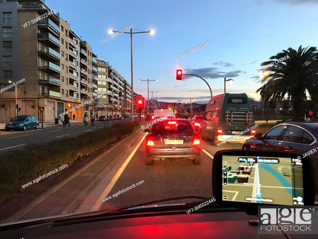 Stock Photo: Driving car with GPS navigator, Paseo Ribera de Loiola, San Sebastian, Donostia, Gipuzkoa, Basque Country, Spain, Europe.