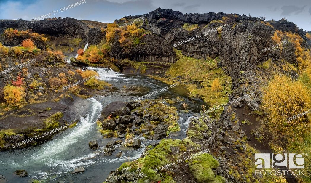 Stock Photo: Aerial view of Gjaarfoss Waterfalls in the autumn, Thjorsardalur valley, Iceland. This image is shot with a drone.