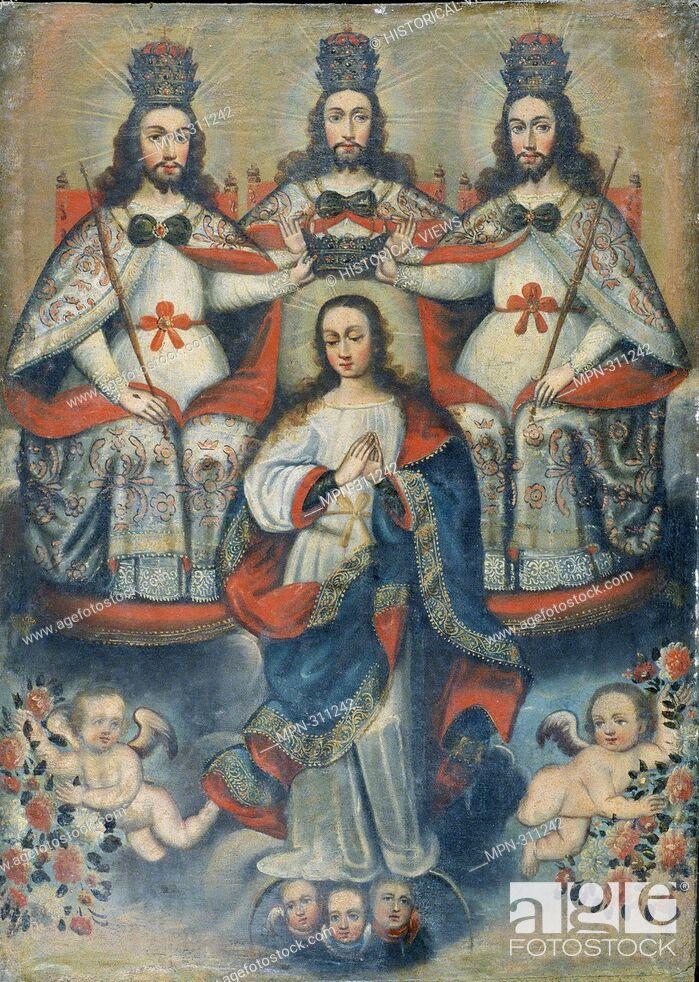 Stock Photo: Holy Trinity crowning the Virgin, unidentified Cuzco School artist, Peruvian, 18th Century.