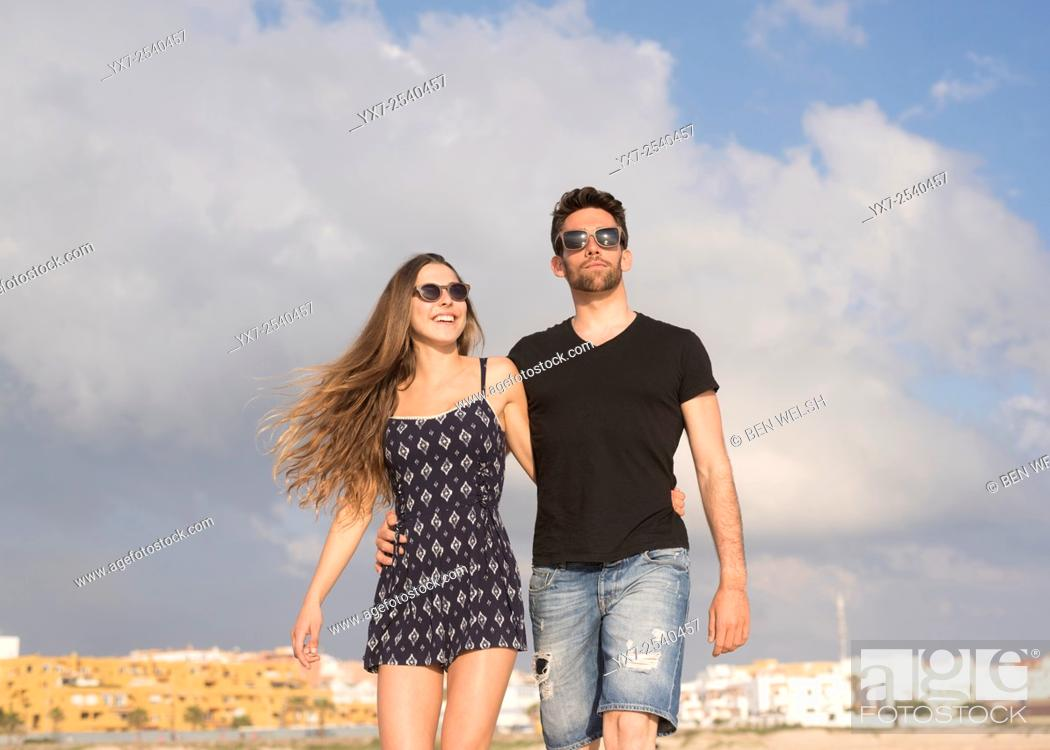 Stock Photo: Young couple outdoors.
