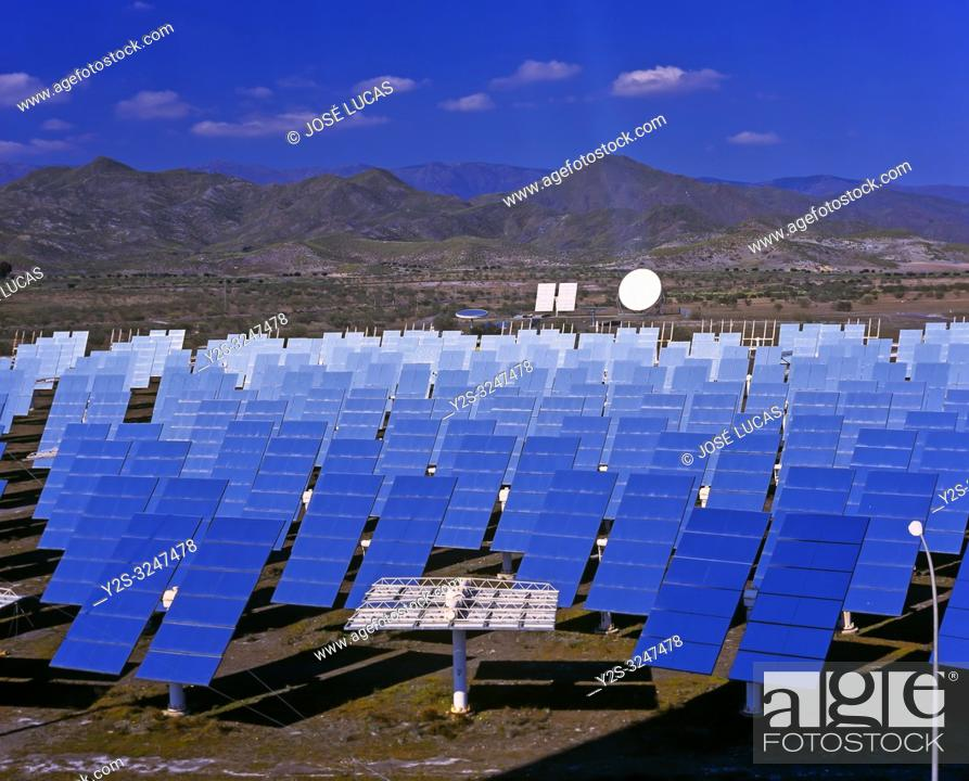 Stock Photo: Solar power plant, Tabernas, Almeria province, Region of Andalusia, Spain, Europe.