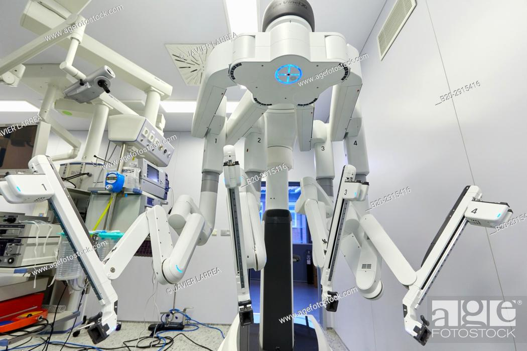 Stock Photo: Surgical Treatment of Prostate Cancer, Radical prostatectomy, Da Vinci Surgical Robot, Urology, Surgery, Operating room, Onkologikoa Hospital.