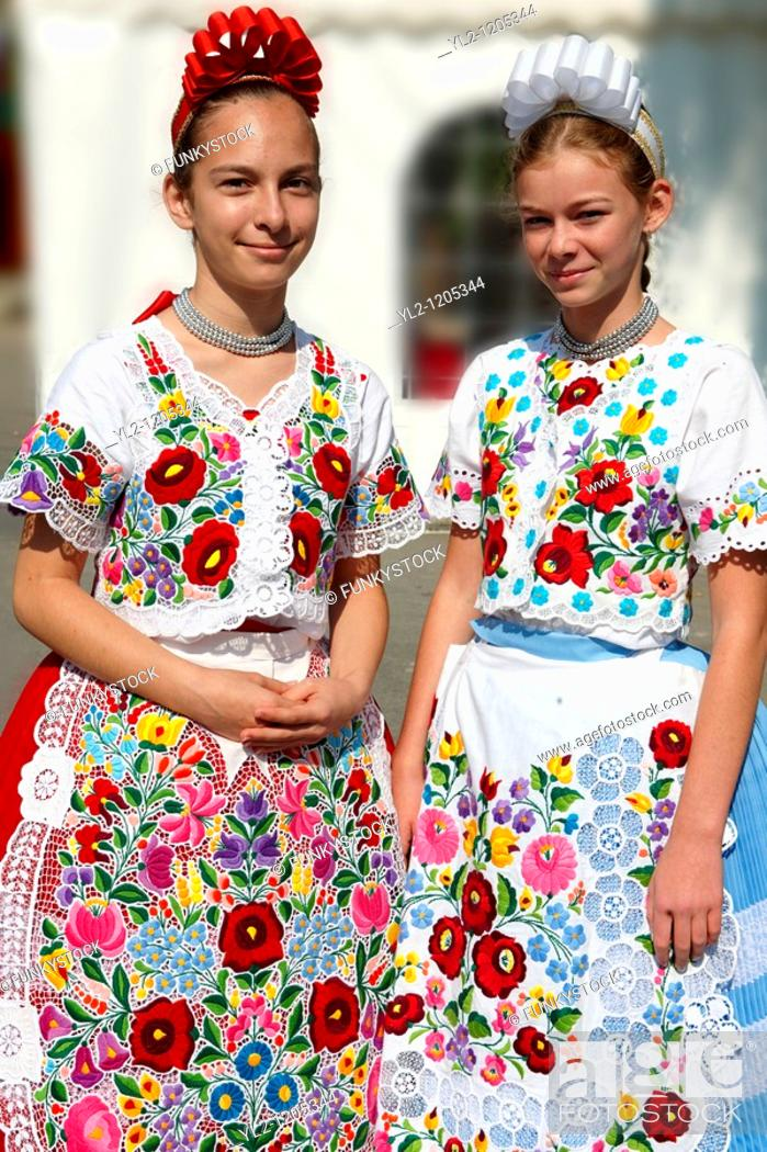 Stock Photo: Young women in traditional Kalocsa dress at the paprka festival, Kalocsa, Hungary.