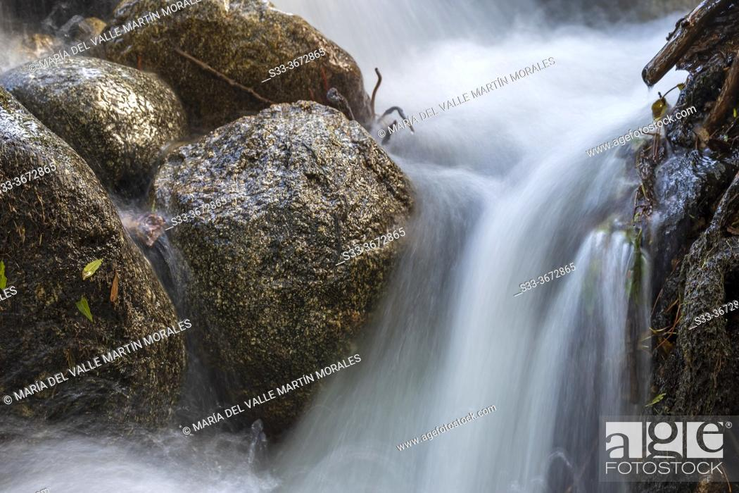 Stock Photo: Rocks and water at river Iruelas. Sierra de Gredos. Avila. Spain. Europe.