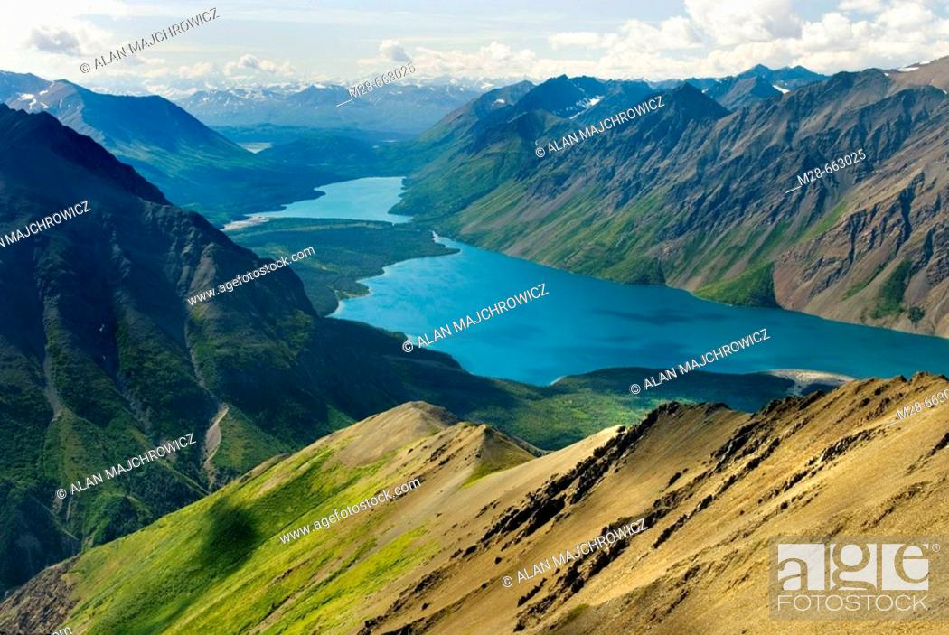 Stock Photo: View of Kathleen Lake from Kings Throne Mountain, Kluane National Park, Yukon, Canada.