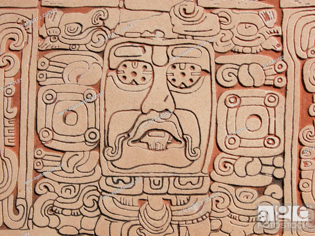 Stock Photo: Glyph, Mayan ruins of Kohunlich (Pre classic & Early Classic, 100 - 600 A.D.). Quintana Roo, Mexico.