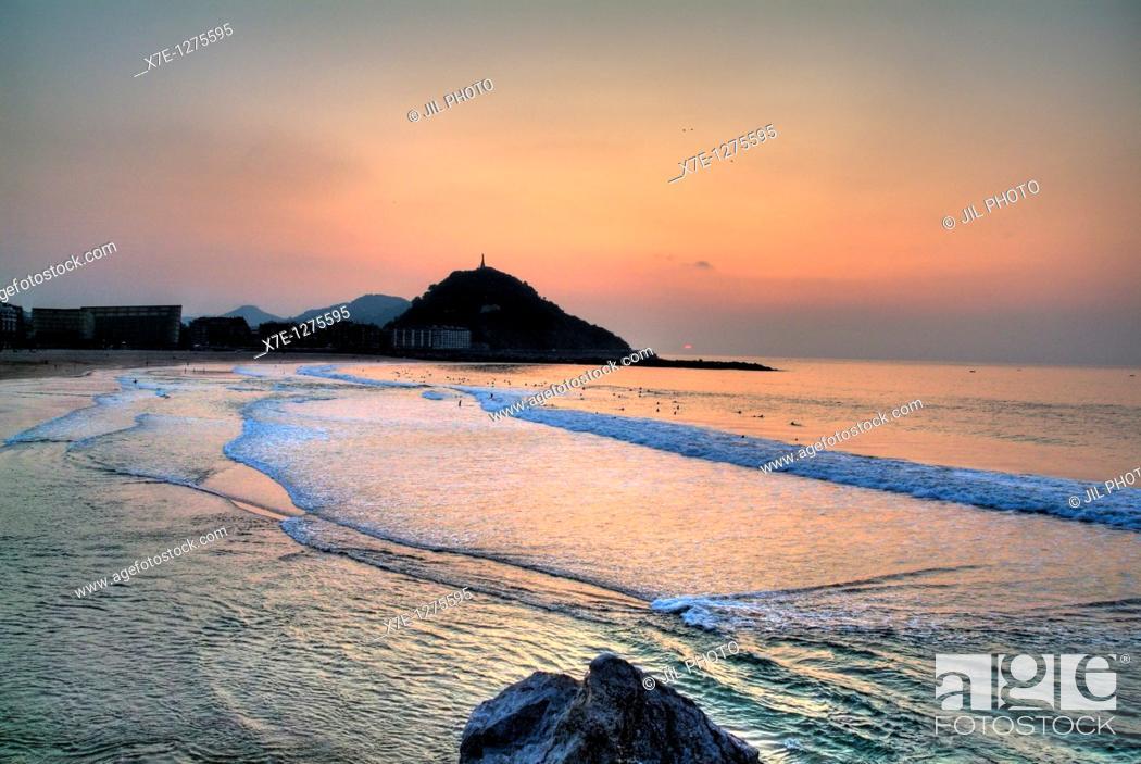 Stock Photo: Sunset on the Zurriola beach  Donostia-San Sebastian  Gipuzcoa  Spain.
