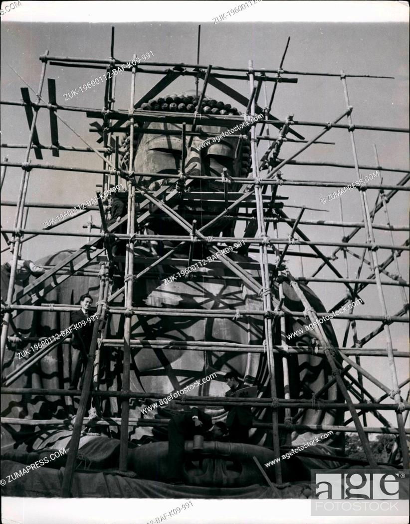 Stock Photo: 1955 - Spring Cleaning A 700-Year-Old Buddha. The 'Amida Buddha' Inspired A Kipling Poem Is 36 Feet High The towering bronze statue of Amida Buddha (Lord of.
