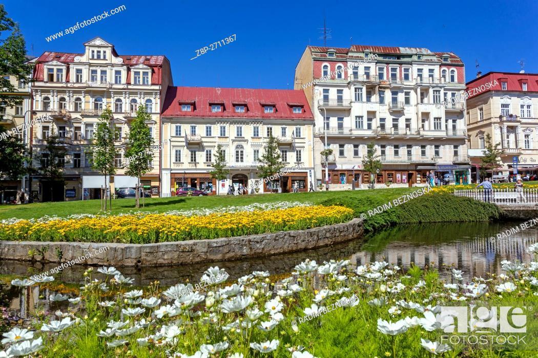 Imagen: Buildings and Hotels on Main street, Marianske Lazne (Marienbad), a spa town, West Bohemia, Czech Republic.