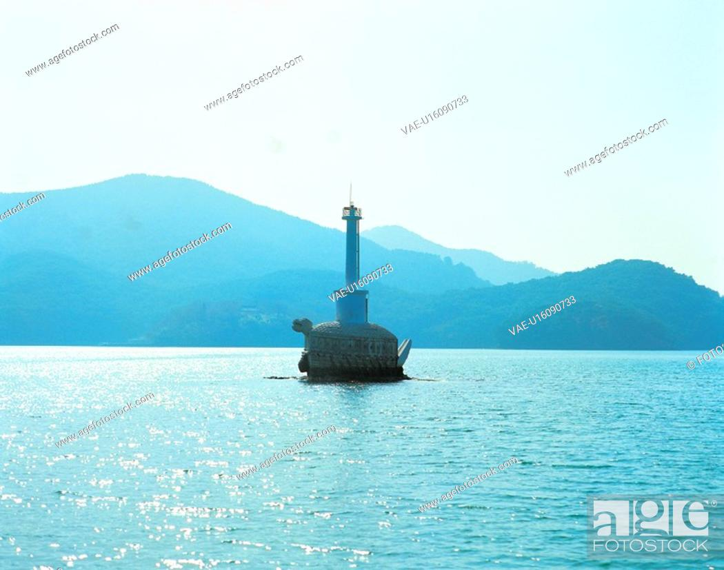 Stock Photo: rock, sea, wave, sky, mountain, lighthouse, natural.