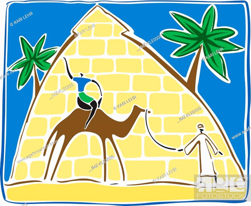 Stock Photo: A man leading a camel with a tourist on its back as they walk past the pyramids.