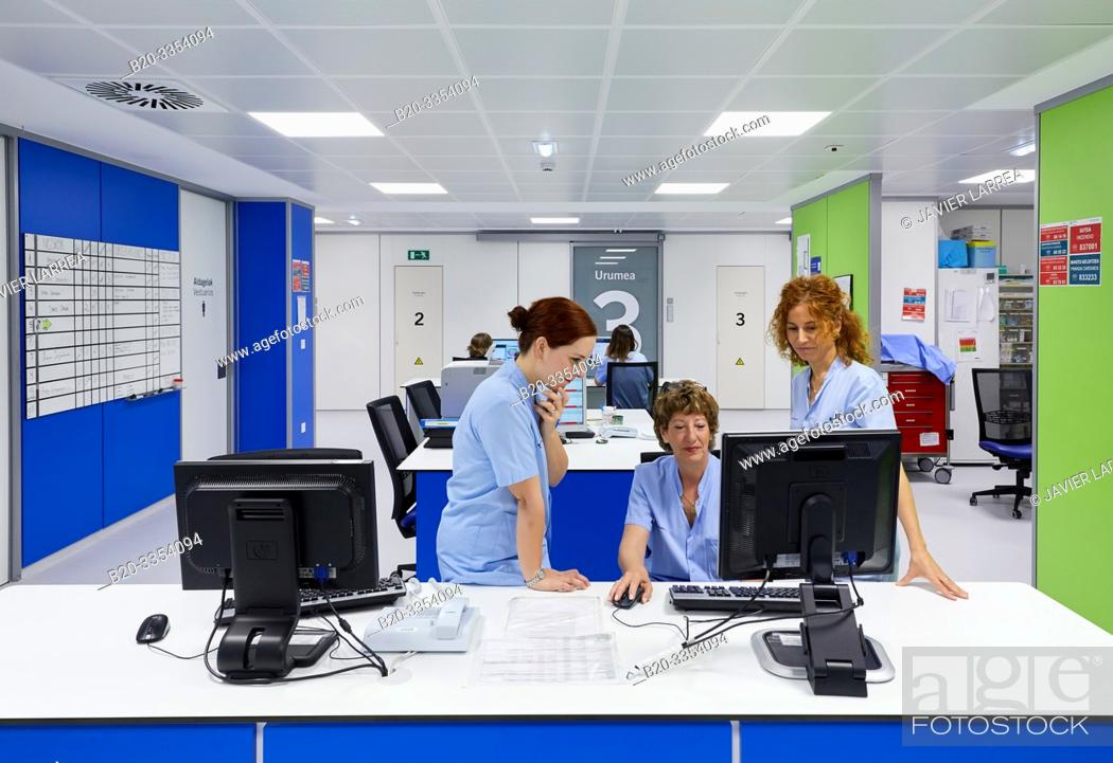 Stock Photo: Nursing control, Delivery room, Maternity ward, Hospital Donostia, San Sebastian, Gipuzkoa, Basque Country, Spain.