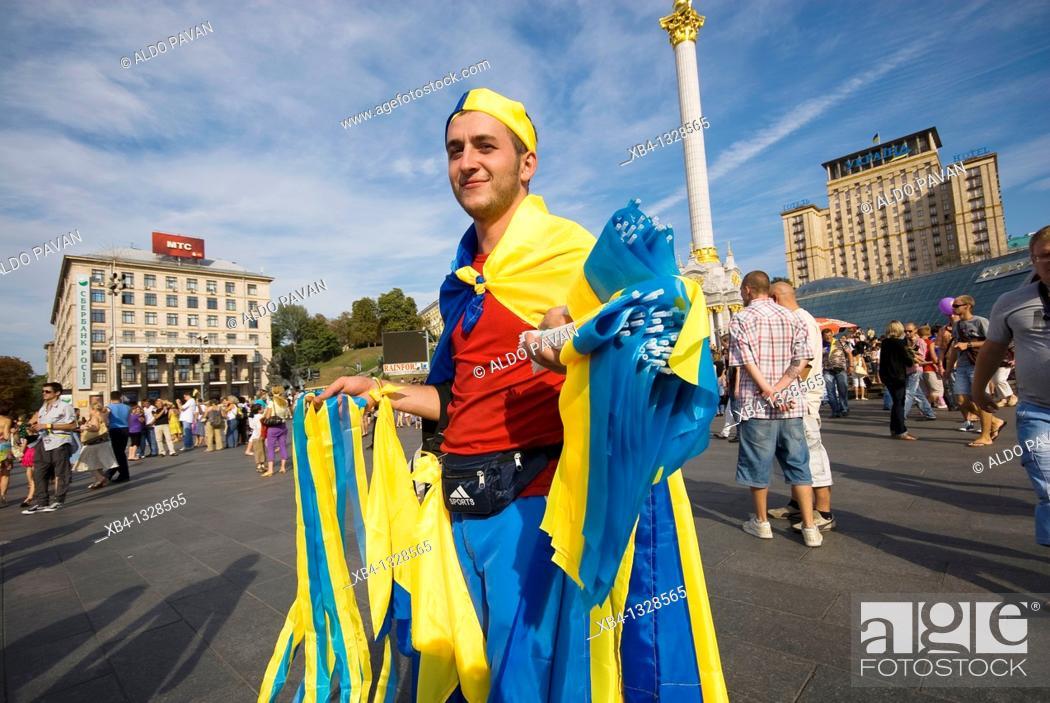 Stock Photo: Ukraine, Kiev, Maidan Nezalezhnosti, celebration of the Ucrainian indipendence.