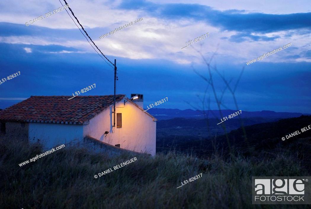 Stock Photo: House at dawn, Benafigos, Castellón, Comunidad Valenciana, Spain, Europe.