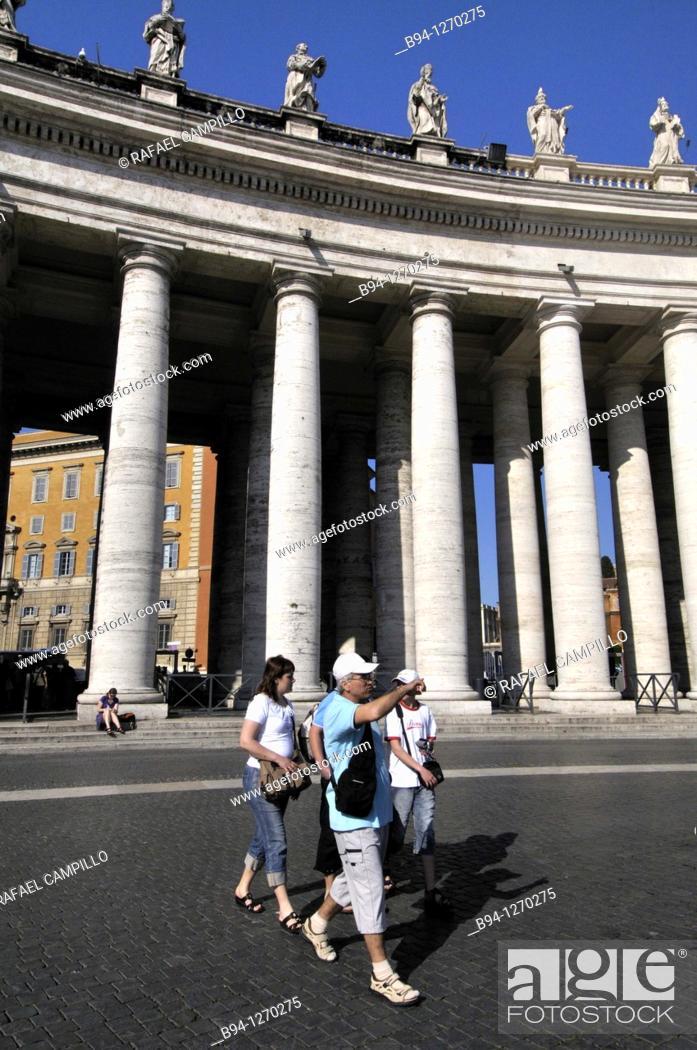 Stock Photo: St. Peter's square, Bernini's colonnade. Vatican city. Rome, Italy.