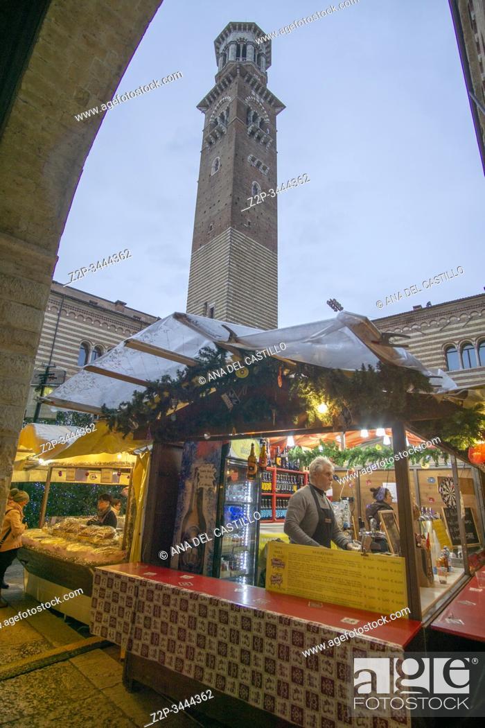 Stock Photo: Verona Veneto on November 23, 2019: The Christmas market.