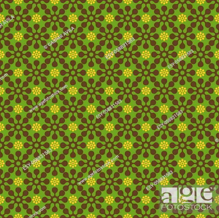Stock Vector: Green retro decorative pattern.