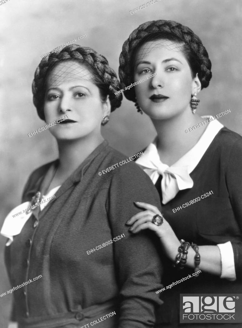Stock Photo: Helena Rubenstein with her 28 year old niece, Mala Rubenstein, manager of her Paris salon. Mala moved from Poland to Paris ten years earlier to learn the.