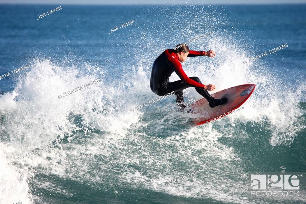 Stock Photo: Surfing at Son Serra, Majorca, Spain.