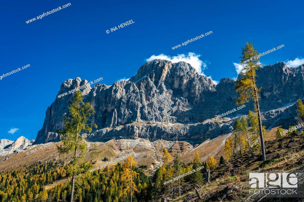 Stock Photo: Panoramic view of the Rosengarten massif alpine mountains in the Schlern nature park area, the Unesco world heritage Dolomites area.