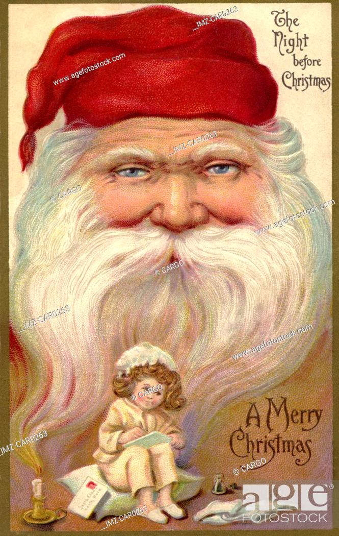 Stock Photo: Vintage Christmas postcard with a little girl writing a list, and the face of Santa Claus in the background.