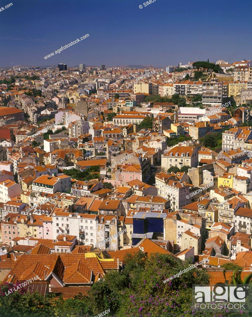 Stock Photo: City rooftop view. Miradouro da Senhora do Monte.