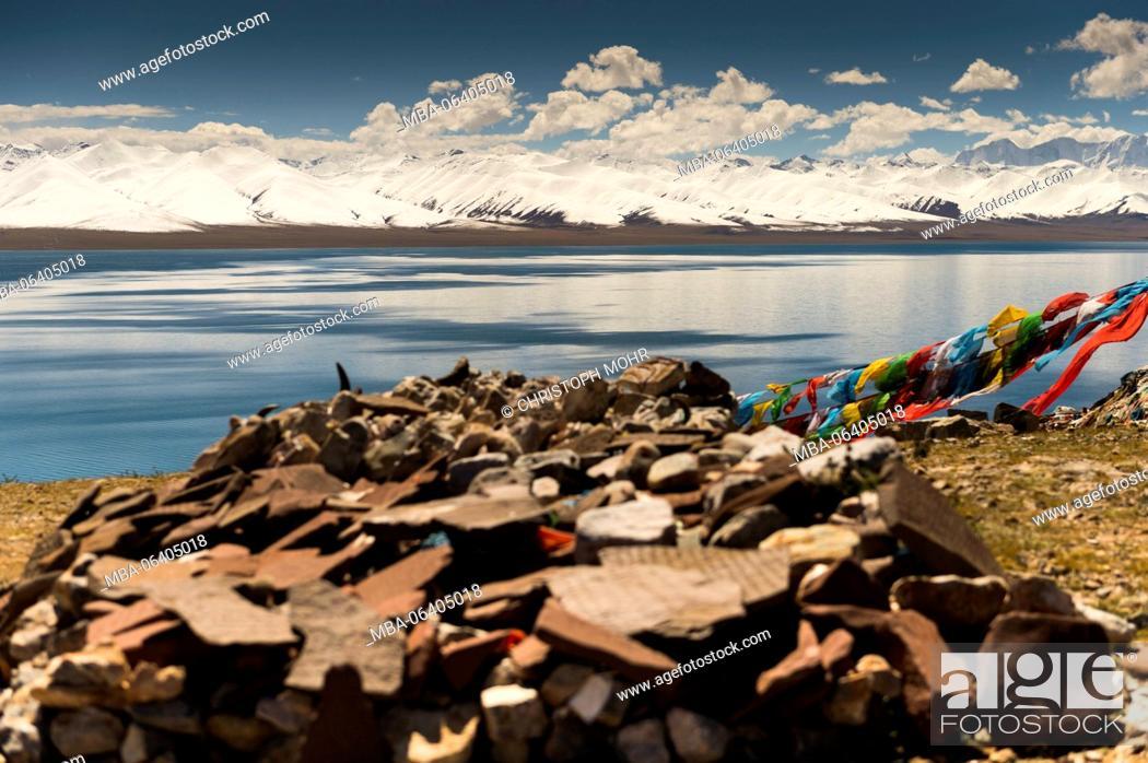 Stock Photo: Tibet, Nam Tso lake.