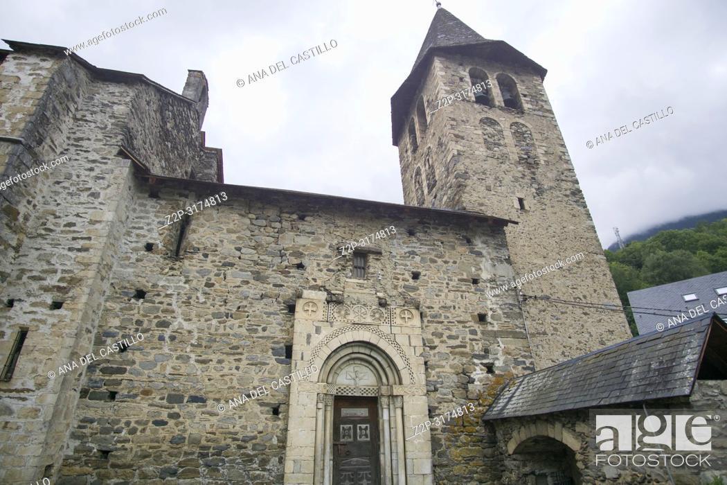 Stock Photo: Romanesque church San Pedro in Escunhau village Aran valley Lleida Catalunya Spain.