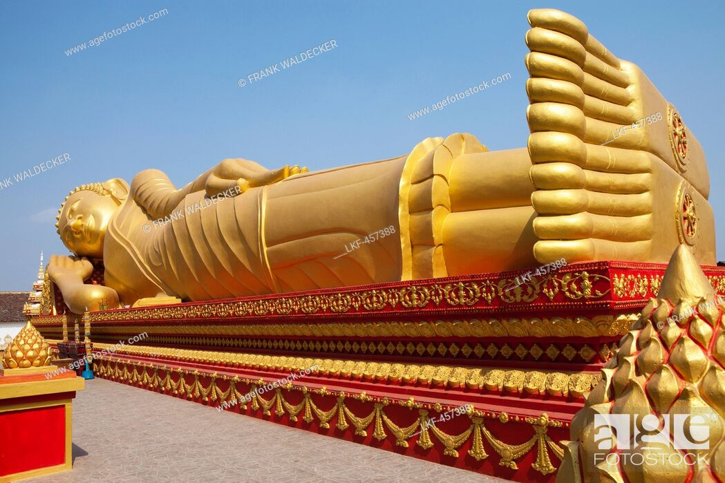 Stock Photo: Golden Buddha at Pha That Luang Monument in Vientiane, capital of Laos, Asia.