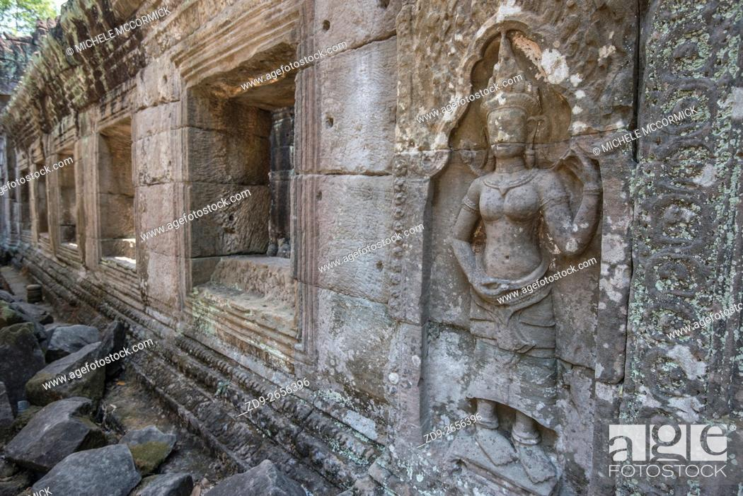 Stock Photo: Lolei Temple is distnguished by elaborate carving.