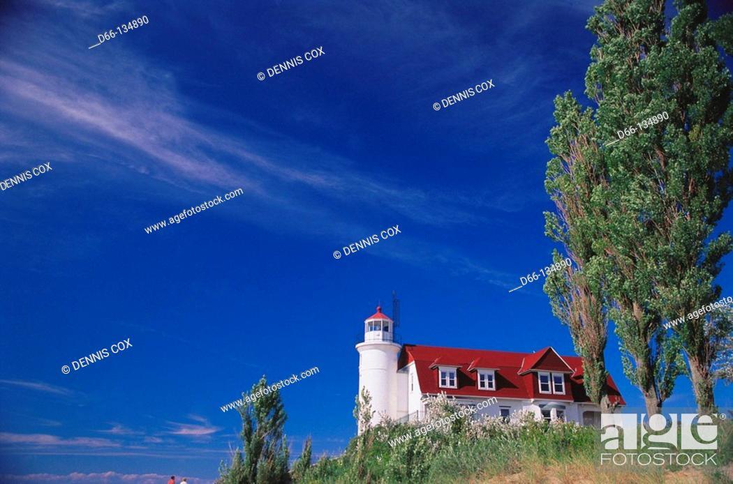 Stock Photo: Point Betsie lighthouse by Lake Michigan. Michigan, USA.