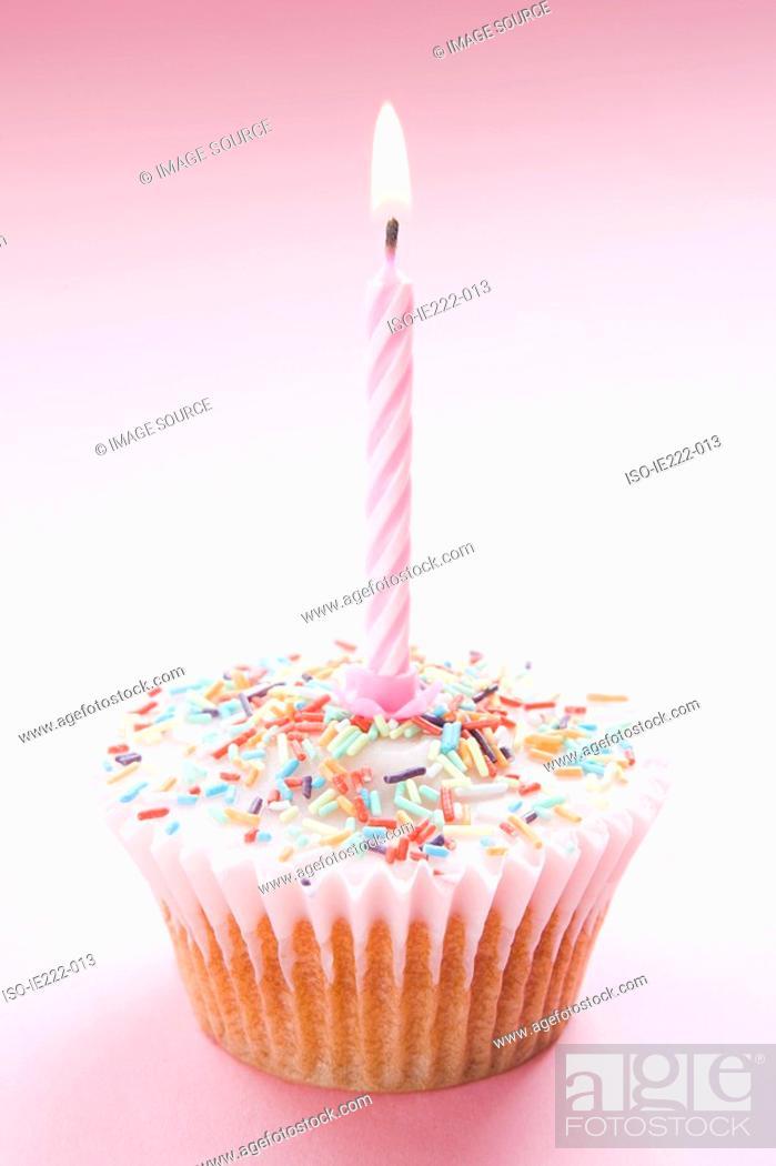 Stock Photo: A birthday cupcake.