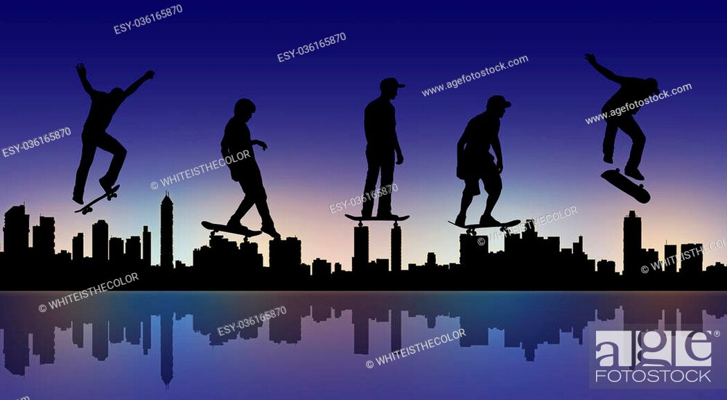 Stock Photo: silhouettes of skateboarders making different movements with a big city panoramic silhouette in the night.