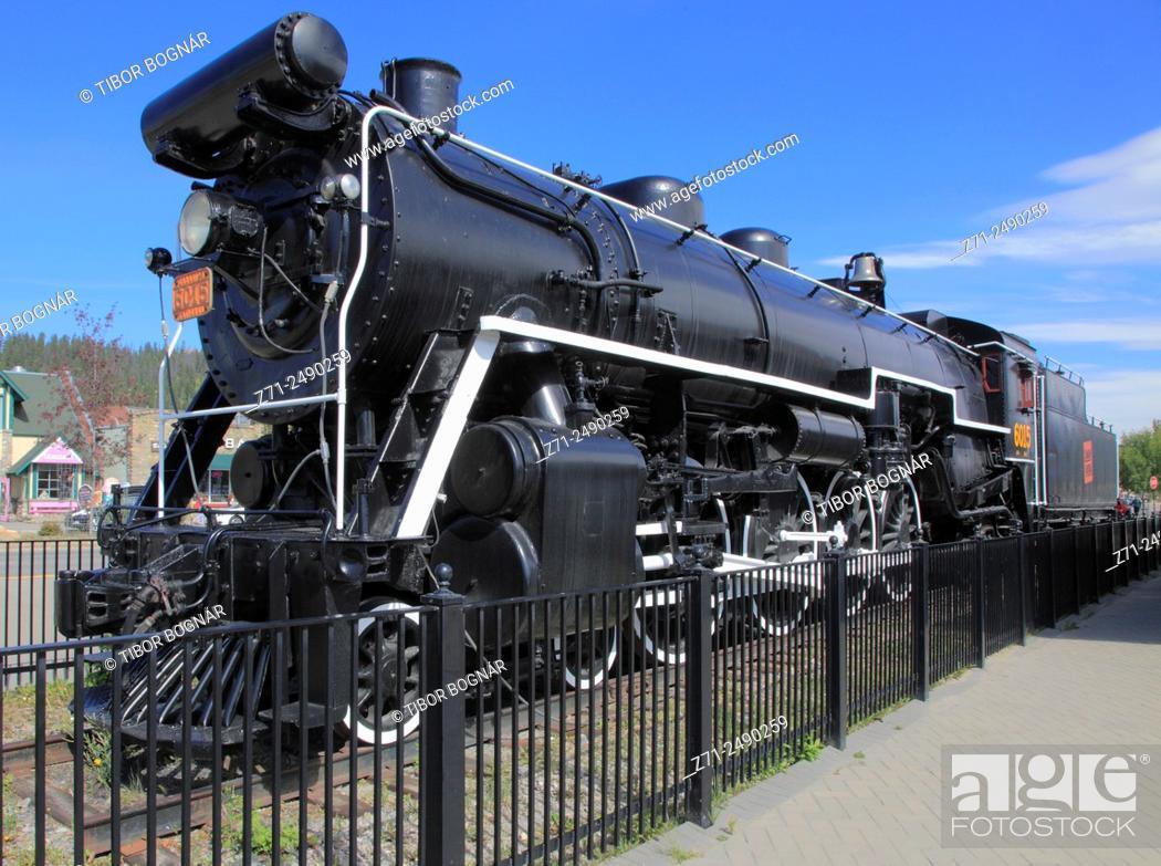 Stock Photo: Canada, Alberta, Jasper Town, steam locomotive, Canadian National Railways, .